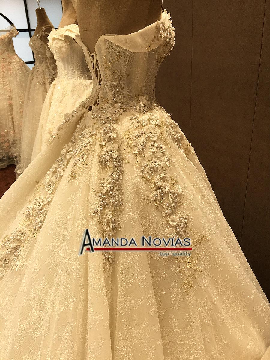 Image 5 - Off The Shoulder Straps Luxurious Wedding Dress With 3D Flowersluxury wedding dresseswedding dressluxurious wedding -