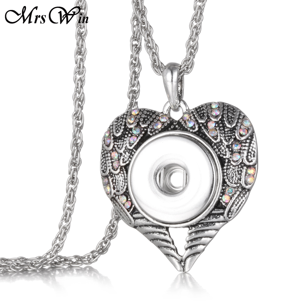 Ginger Crystal Angel Wings Snap Neckalce Metal Vintage 18mm SNap pendant Necklace Perhiasan Button Jewelry