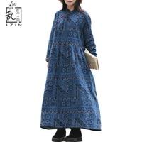 LZJN Spring Faux Fur Clothes Women Maxi Dresses Elegant Cotton Linen Robe Pullover Gown Long Sleeve