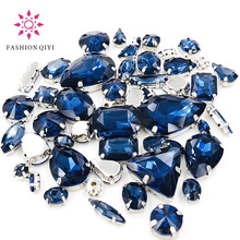 New arrive 50pcs/bag high quality mixed shape Ink blue glass crystal sew on rhinestones with claw diy clothing accessories