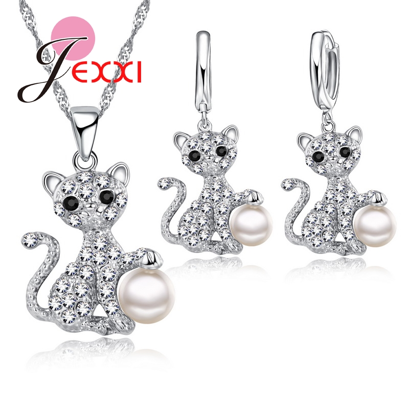 Cute Cat With Fine CZ Crystal And Pearl Ball 925 Sterling Silver Fashion Jewelry Set With Necklace/Earings Wholesale