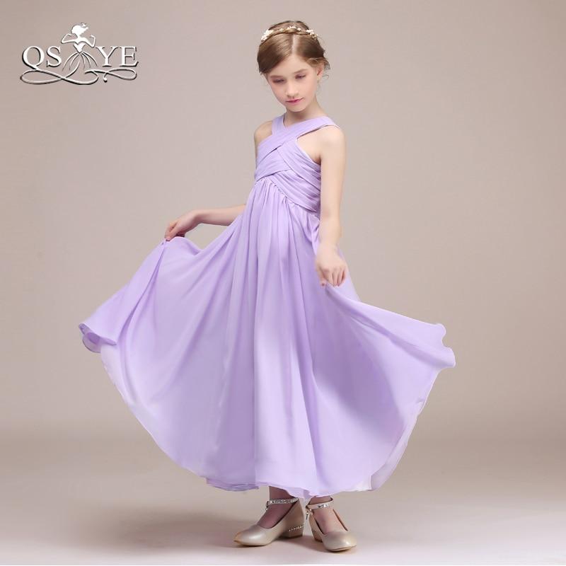 QSYYE filles violet clair robes de demoiselle d'honneur une ligne plis en mousseline de soie longueur de plancher robe de soirée pour mariage sur mesure - 4