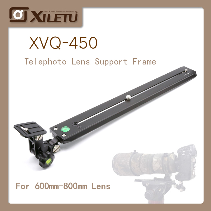 Adaptador de Lente Telefoto XVQ-450 XILETU Suporte Alongar Cabeça Manfrotto cabeça Hidráulica Sachtler Gitz Plate400mm Para Observação de Aves