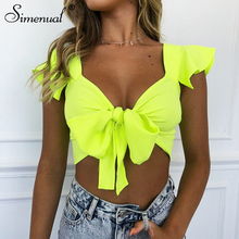 Simenual Neon Color Sexy Women Wrap Top Casual Bandage Ruffle Sleeve Tops Fashion V Neck Cropped T Shirts Summer 2019 Short Tees