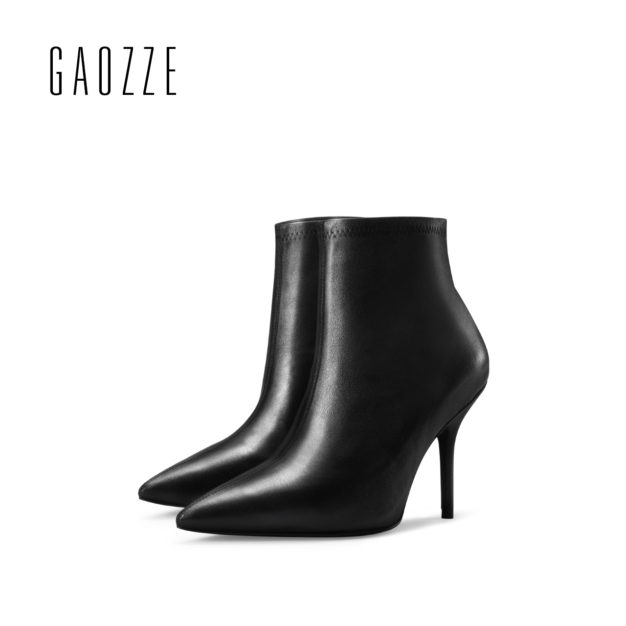 GAOZZE black women ankle boots shoes genuine leather boots pointed toe shoes 2017 autumn sexy high heel ankle boots for women xiangban handmade genuine leather women boots high heel ankle boots pointed toe vintage shoes red coffee 6208k11