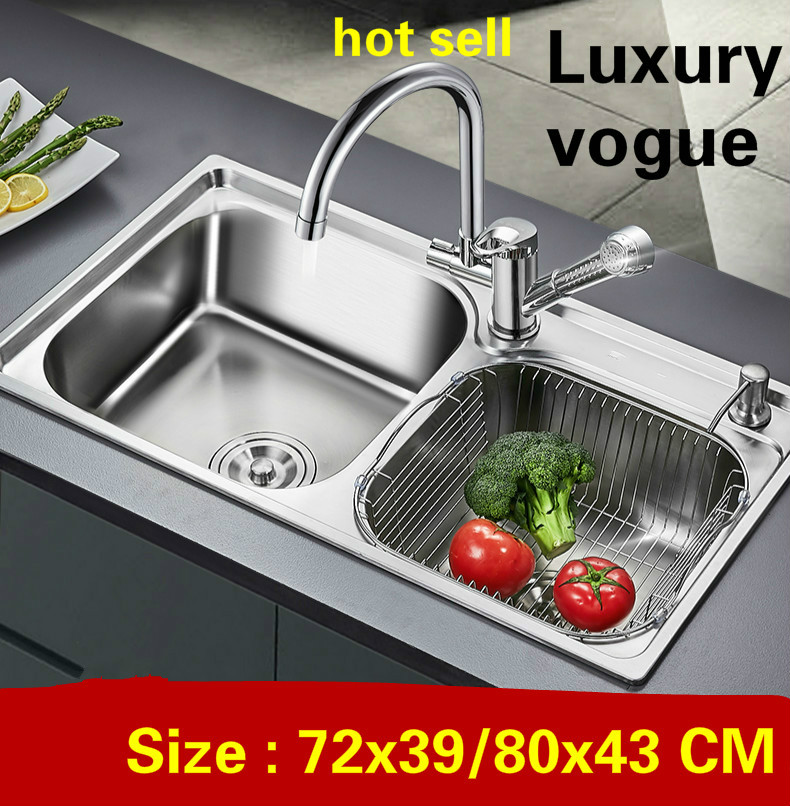 Free Shipping Apartment Luxury Kitchen Double Groove Sink High Quality 304 Stainless Steel Hot Sell 72x39/80x43 CM