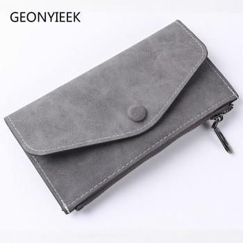 2018 matte leather women's wallet zipper bag vintage female wallet purse fashion card holder phone pocket long women wallet Women Wallets