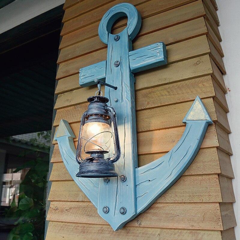 Antique Wood Lamp Kerosene Lantern Mediterranean Theme Restaurant Bar Lamp Wall Lamp Rudder Creative Personality стоимость