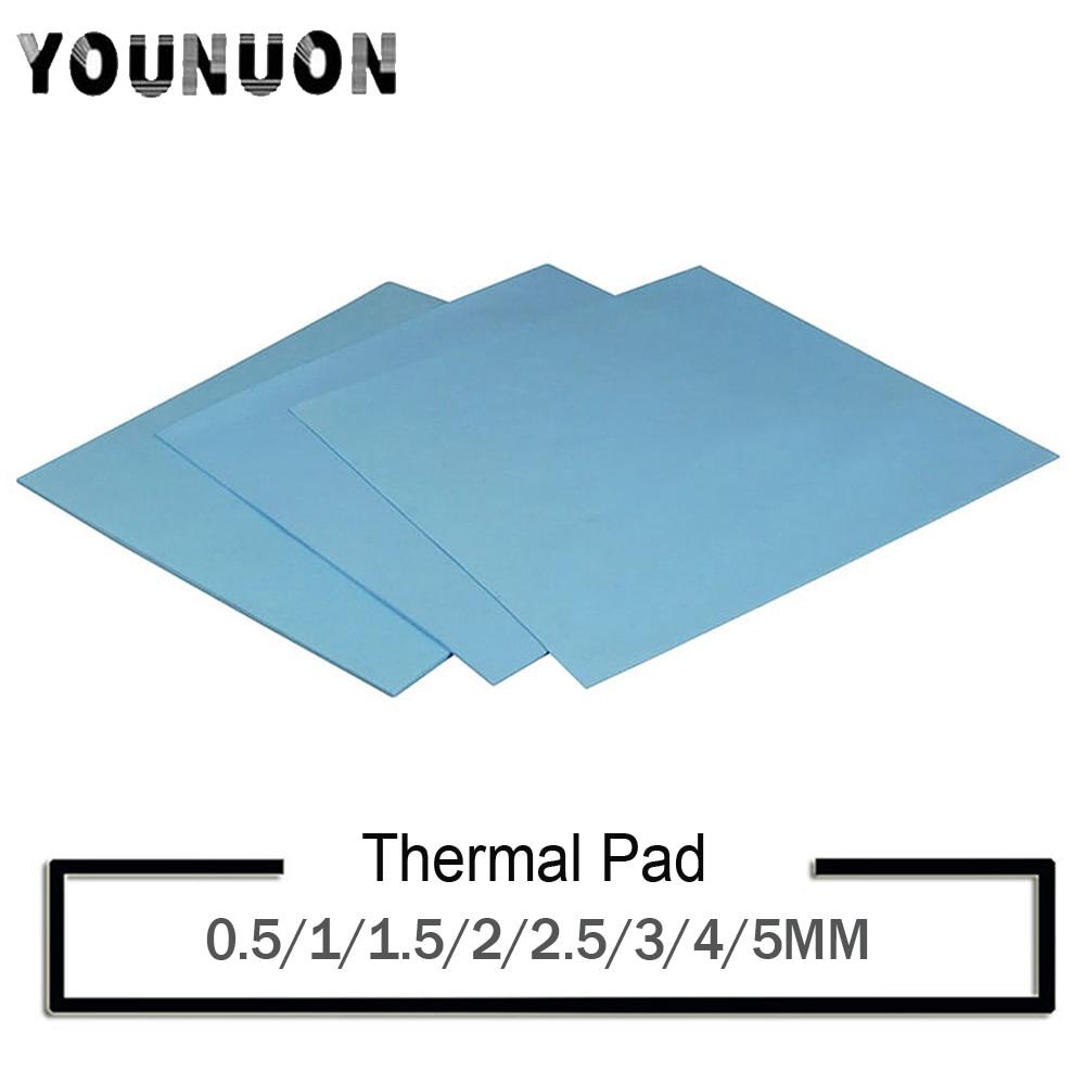 YOUNUON 100x100mm 0.5mm 1mm 1.5mm 2mm 3mm 4mm 5mm tichkess Thermal Pad CPU Heatsink Pad Cooling Conductive Silicone Thermal