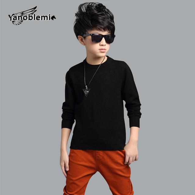 Novos Grandes Meninos Marca Crianças Camisola Cor Sólida O-pescoço Malhas Casacos Roupa Dos Miúdos Primavera Top Outerwear Pullover 5 cores