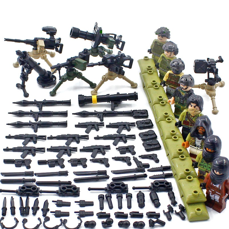 NEW Heavy Weapons Gatling Mortar Bazooka Military SWAT Soldier Special Force Navy Building Blocks Bricks Legoiny Figures Toys 6pcs swat special forces police the wraith assault cs with motorcycles weapons figures building blocks bricks toys for kids