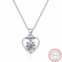 Heart shape with one crystal stone 925 sterling silver necklaces Fine chain simple style quality S925 jewelry fashion necklaces