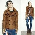 2017 Korean version fashion new men Slim woolen jacket Men's personalized fashion short paragraph trench coat