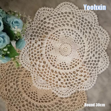 Modern Lace Round cotton table place mat pad Cloth crochet placemat cup mug wedding tea coaster handmade drink doily kitchen