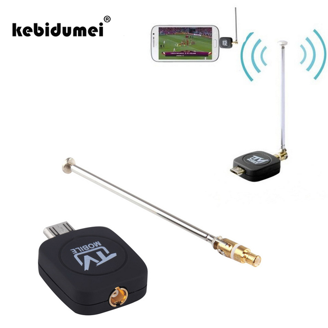 kebidumei Micro USB DVB-T Mobile TV Tuner Receiver TV Stick with Antenna For Android Smartphone Tablet PC HDTV Black New