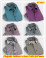 Бесплатная доставка Оптовые новые дизайнер Slim fit платье лето проверить марка мужская рубашка XS, S, M, L, XL, XXL QR-1168