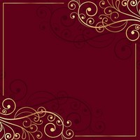 Golden Floral Frame Red Photo Studio Background Vinyl Cloth Computer Printed Wall Backdrop