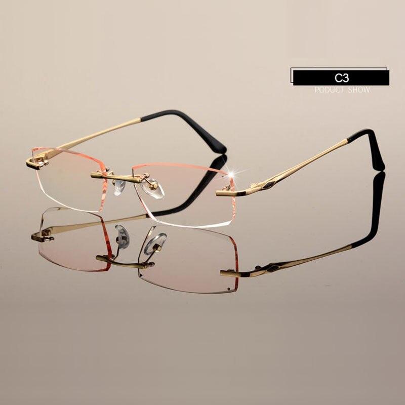 Men Eyewear C001 Diamond Trimming Cutting Rimless Eyeglasses ...