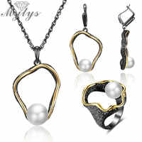 Mytys Retro Antike Schwarz Schmuck Sets Hohl Ring Halskette Ohrringe Sets Perle Verschönern Gold Draht Rahmen Vintage-Schmuck Geschenke