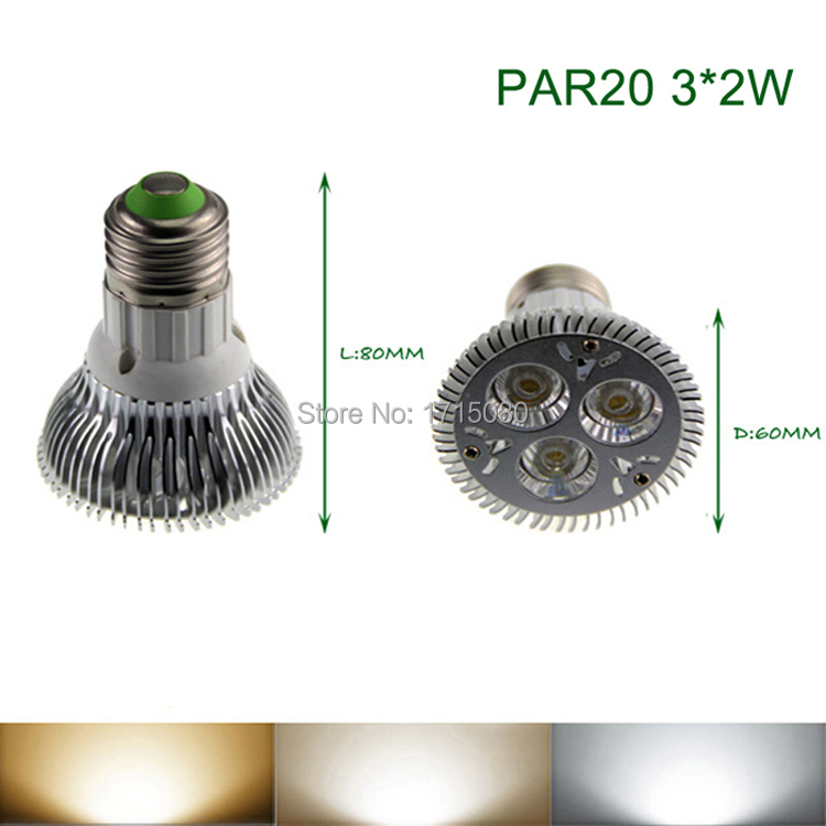 Super Bright PAR20 LED Spotlight 6W E27 85-265V Natural White LED Light PAR 20 Bulb Lamp For Home lighting free shipping e27 6w 6 led 540 lumen 6000k white light bulb 85 265v ac