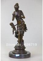 Klasycznego Brązu Posąg kobiety i aniołek CZS-133 rzeźby Sztuki Rękodzieła
