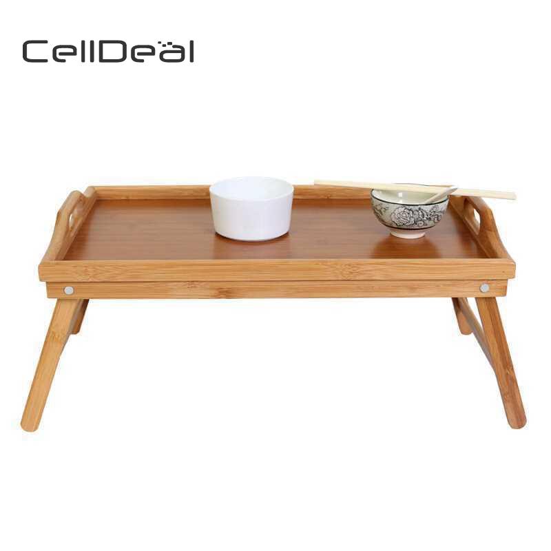 Plateau de lit en bois de bambou avec jambe pliante servant le petit déjeuner plateau de Table Mate petite Table Tables à thé Mesas Plegables Madera