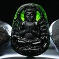Black natural jade hand-carved Avalokitesvara pendants men and women patron saint jade necklace pendant jewelry gifts