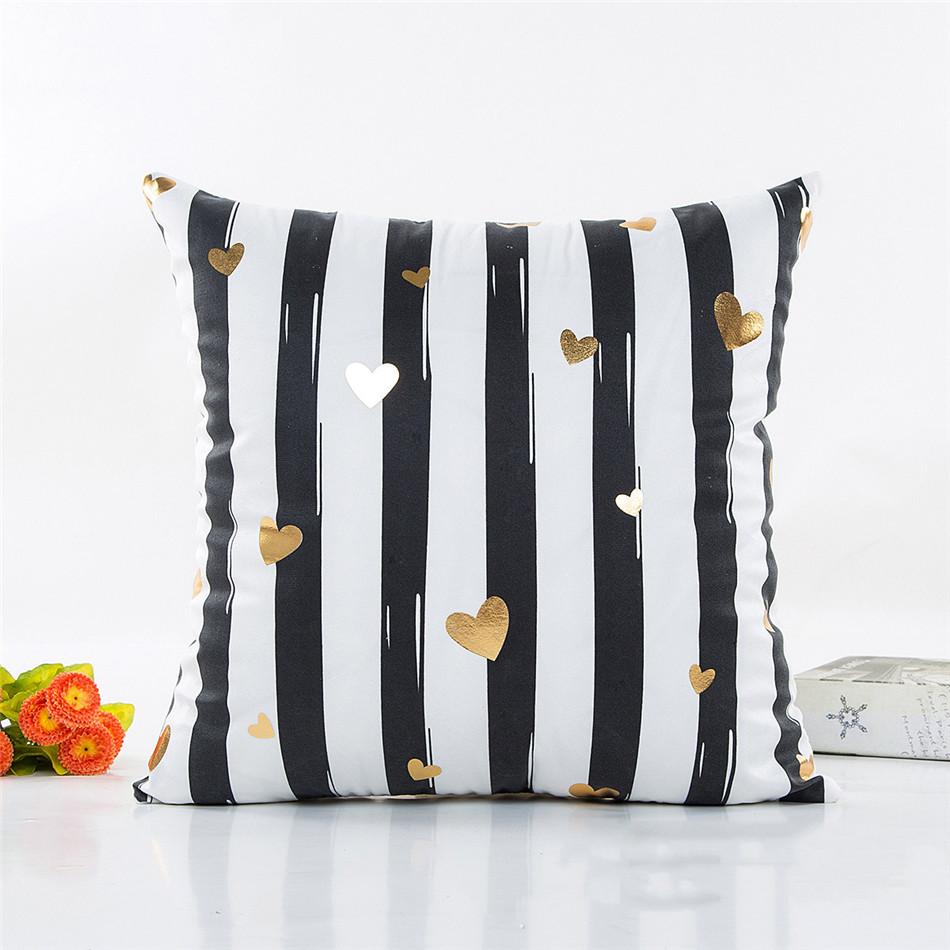 Geometria Bronzing Cushion Cover Strip Love Printed Cotton Pillows Case Sofa Bedroom Home Office Decorative Throw Pillowcases (6)