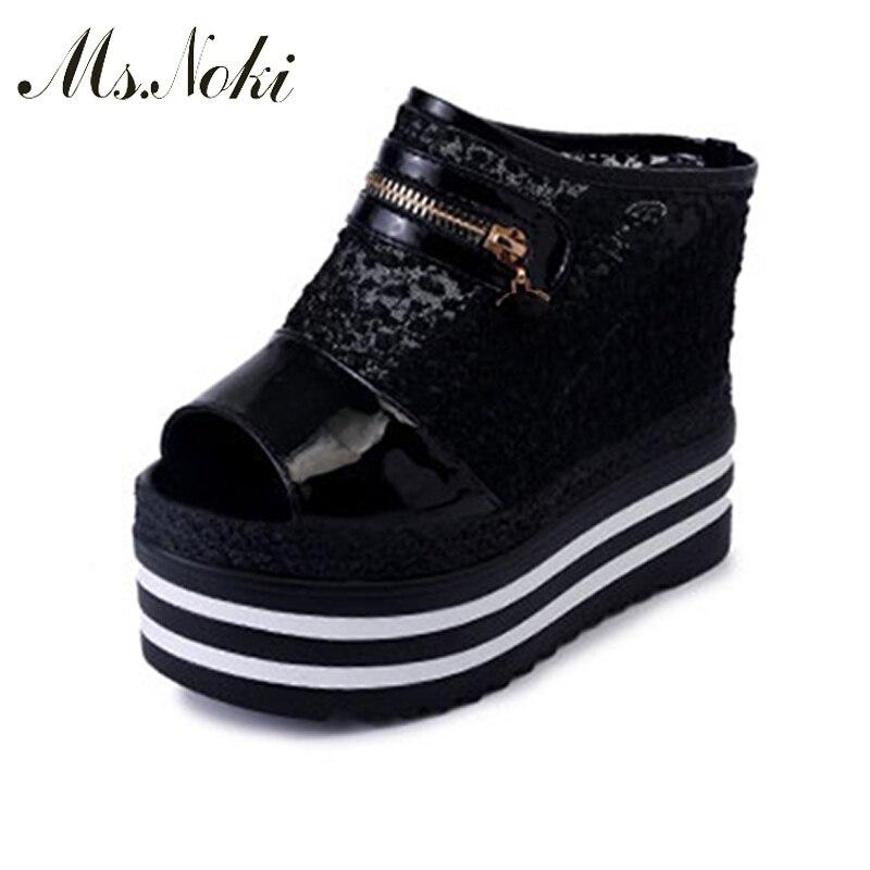 14cm Ultra High Heel Slippers 2018 Summer Women Slides Platform Wedges Woman Shoes Flip Flops Sandalias