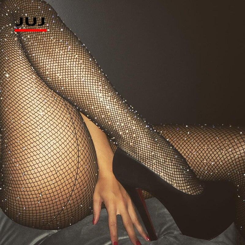 Sexy Women Glitter Fishnet Tights Black Back Line Rhinestone Pantyhose Womens Fishnet Pantyhose Mesh Nylons Lady Shiny Stockings