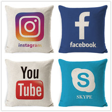 Fokusent Facebook Wechat Skype Viber Sofa Throw Pillow Case Tango Youtube Snapchat Instagram Cushion Cover Useful App Decoration(China)