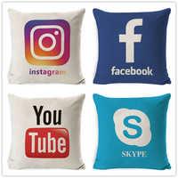 Fokusent na facebooku Wechat Skype Viber Sofa rzuć poszewka na poduszkę Tango Youtube Snapchat Instagram poszewka przydatna aplikacja dekoracji