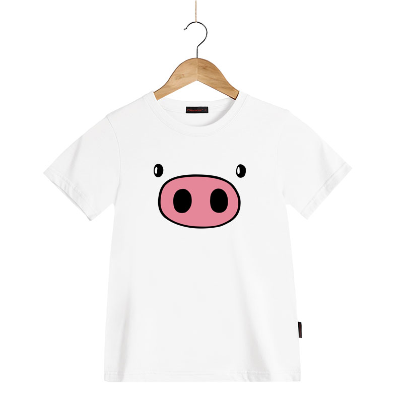 Summer New Kids T-shirt 100% Cotton Pinky Pig Aniaml Clothes Children Clothing Boys T Shirt O-neck Short Sleeve Girls Tops