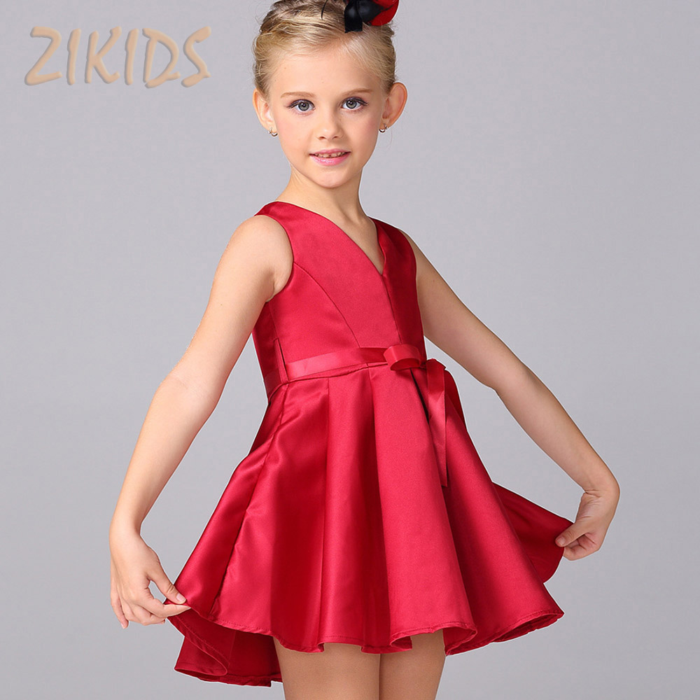 Summer Dress Flower Girl Dresses for Wedding Party Cute Red Sleeveless Bow Sashes Child Brand Kids Clothes 2016 Sale New Fashion red new summer flower kids party dresses for weddings formal princess girl evening prom sleeveless girl bow mesh dress clothes