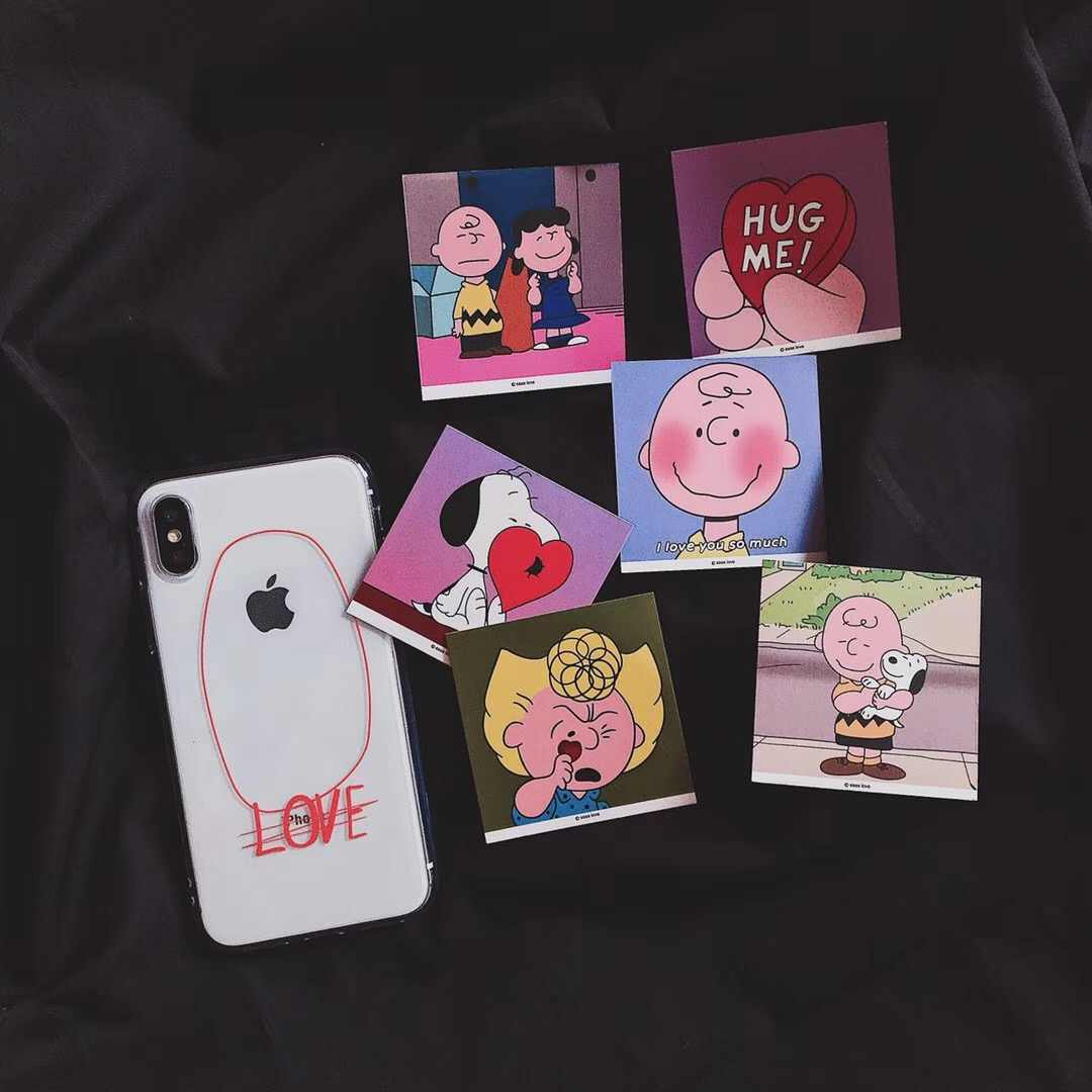 Cute Anime Transparent Love English Phone Case For iPhone 8 7 6 6s Plus X XR Xs Max Small Card Charlie Brown Soft TPU Back Cover