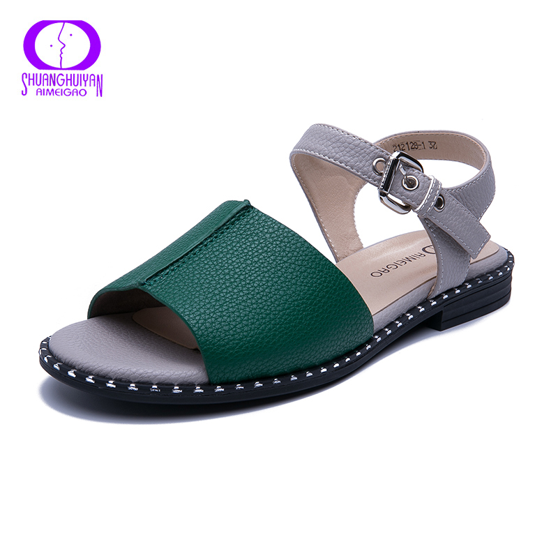 Aimeigao Neuheiten Weichen Leder Casual Sandalen Frauen In Flachen Sandalen Komfortable Wohnungen Heels Frauen Damen Sandalen Schuhe