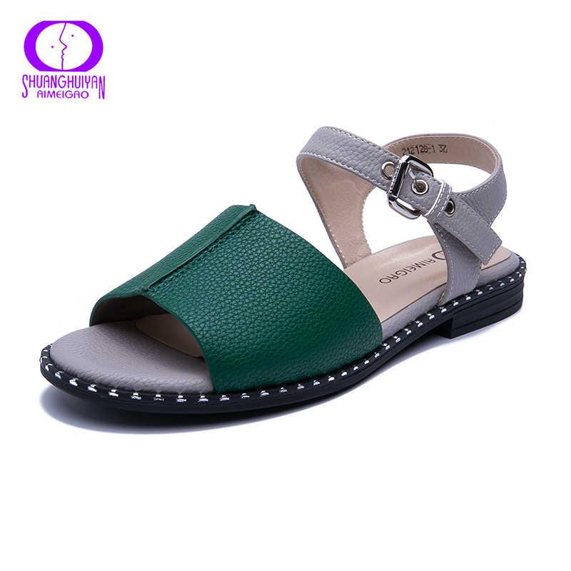 AIMEIGAO Nieuwkomers Zacht Leer Toevallige Sandalen Vrouwen in Platte Sandalen Comfortabele Flats Hakken Vrouwen Dames Sandalen Schoenen