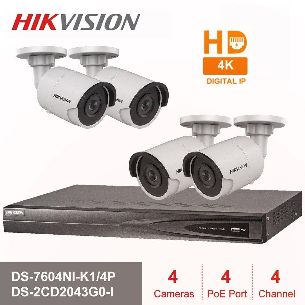 Hik 4CH HD POE NVR Kit DS-7604NI-K1/4 P 4 pcs 4MP DS-2CD2043G0-I IP Della Macchina Fotografica di IR di Visione Notturna di Sorveglianza set trasporto libero di Trasporto Veloce