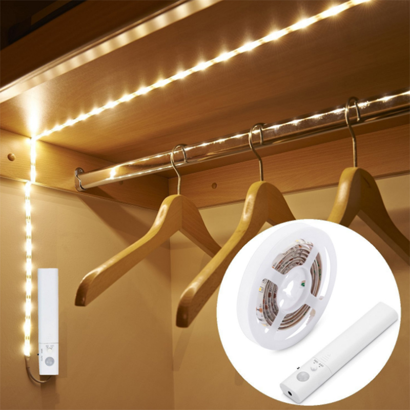 LED 1M Strip Light Wireless PIR Motion Sensor Wardrobe Cabinet Battery Operated ALI88