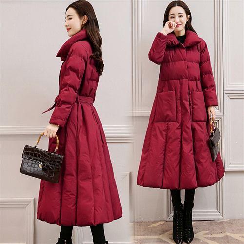 2018 New Winter Women Down Cotton Long Jacket Female Fashion Adjustable Waist Warm Coat Outwear Ladies