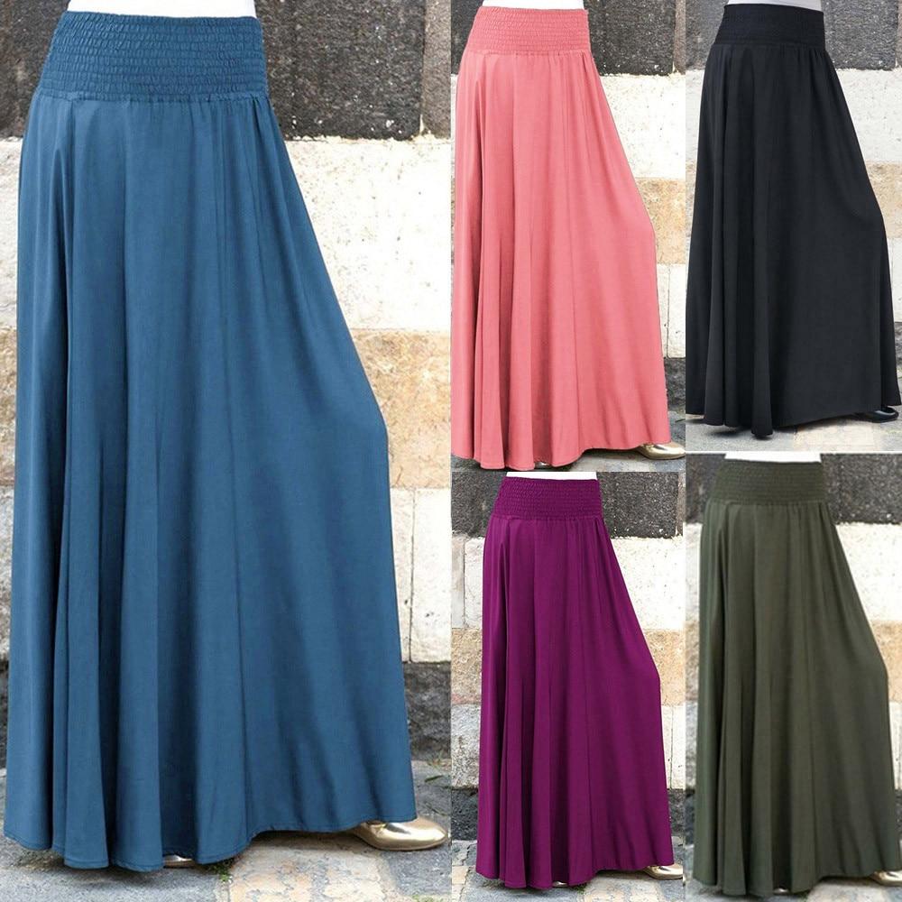 Women Fashion Elastic Waist Solid Pleated Skirt Vintage A-line Loose Long Skirts Skirt Women Cute Sweet Girls Dance Skirt Юбка