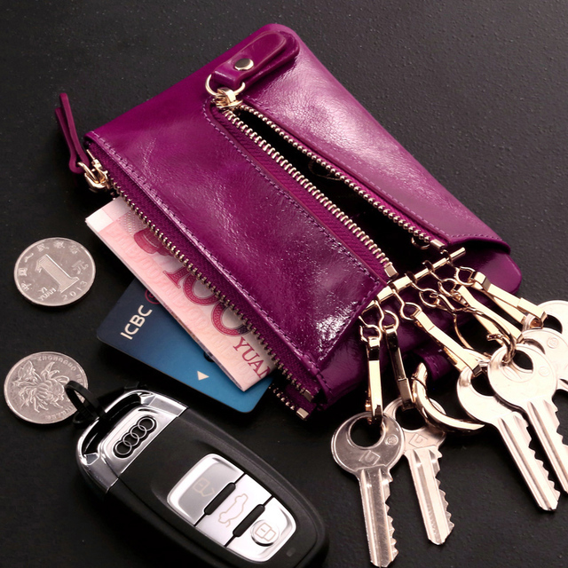 Car Key Wallets Genuine Leather women cute zipper key bag cowhide leather key sases bag big capacity small new tide coins purse