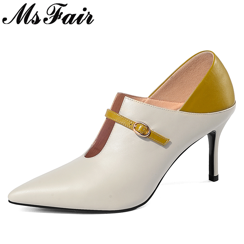 MsFair Pointed Toe Thin Heels Women Pumps Genuine Leather Shallow High Heels Women Shoes Fashion Metal Buckle Pumps Shoes Woman floral embroidered heels women pumps solid pointed high heels toe shallow fashion high heels 10cm shoes women wedding shoes