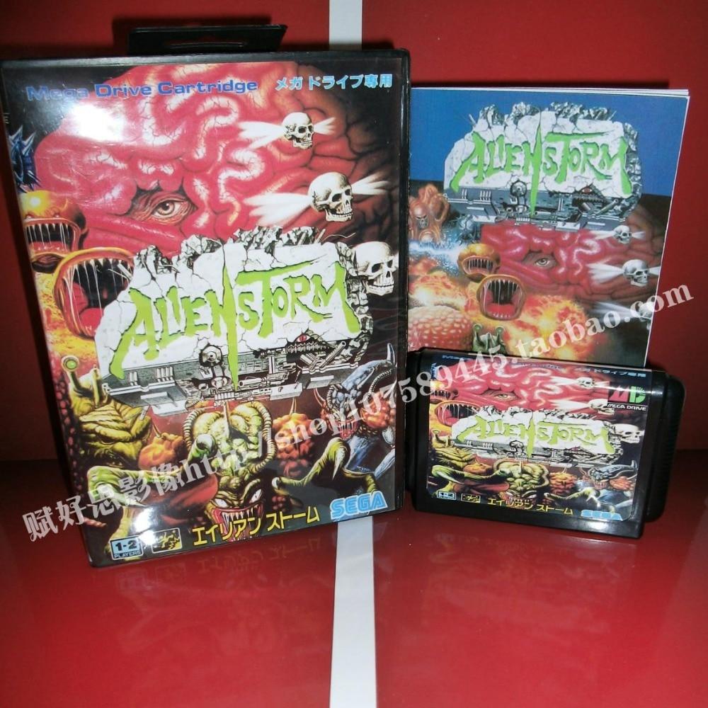 Alien Storm JP Cover Game cartridge with Box and Manual 16 bit MD card for Sega Mega Drive for Genesis