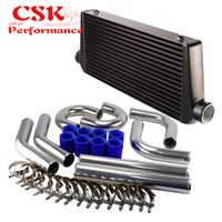 Universal Front Mount Intercooler + 3 76mm Aluminum Piping Hose Clamps Kit Black/Blue/Red
