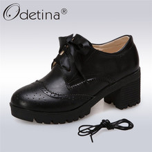 Odetina New Fashion Women Brogues Shoes High Heel Lace Up Pumps Block Chunky Heel Oxford Shoes With Two Shoelaces Big Size 34-43 simple women s pumps with lace up and chunky heeled design