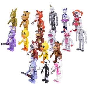 Image 4 - Brinquedos 18 pçs/set Bonnie Foxy das cinco Noites no Freddy Freddy Fazbear Urso PVC Figuras de Ação 18 pçs/set