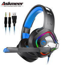 ASKMEER A66 Gaming Headset PS4 Best PC Stereo Headphones casque with Mic RGB LED Light for Xbox One Notebook Laptop Gamer