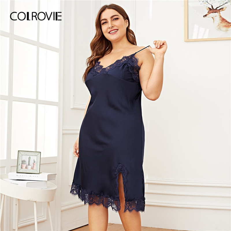COLROVIE Plus Size Contraste Marinha Lace Dividir Side Satin Cami Vestido de Noite Senhoras 2019 Moda Primavera Sem Mangas Sexy Nightgowns