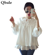 Qbale plus size women clothing cute Baby doll tshirts cotton women Lolita kawaii ruffle white t shirt top tee shirt femme